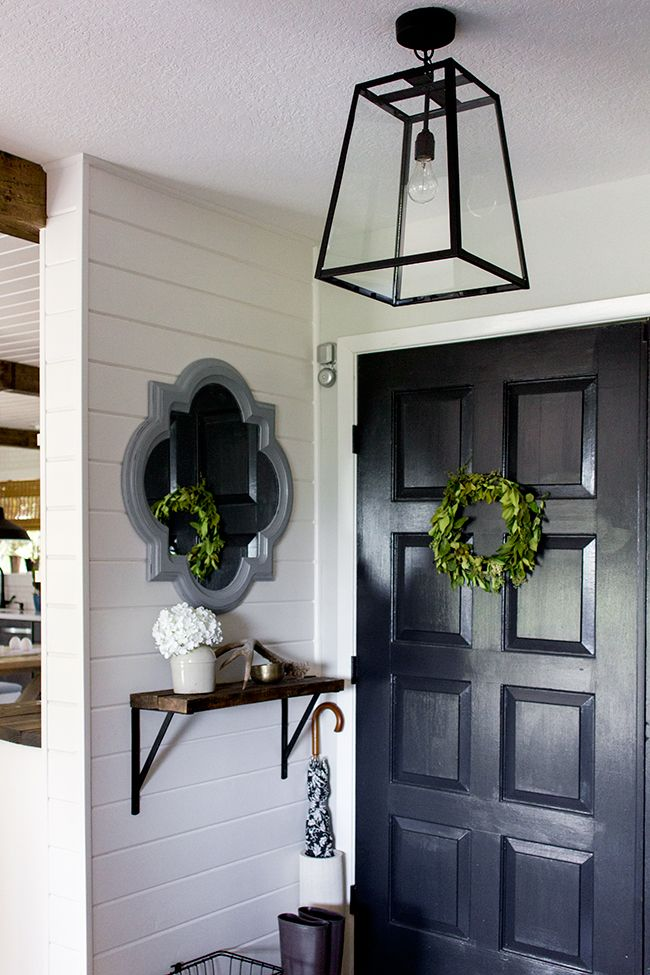 Jenna Sue: Current HouseDoors Ideas, Diy Salvaged, Black Doors, Entry Ways, Salvaged Doors, Foyers Garage Etc, Foyers Updates, Foyers Lamps, Foyers Lights