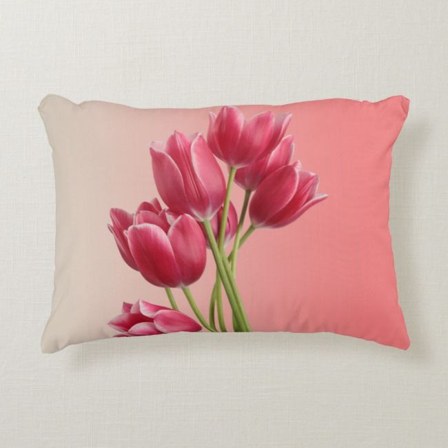 Beautiful Pink Tulips Soft Background Accent Pillow Floralprints Throwpillows Homedecor Flowery Cush Pillows Decorative Throw Pillows Custom Throw Pillow