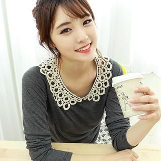'Dodostyle – Crochet-Collar Long-Sleeve Top' at YesStyle.com