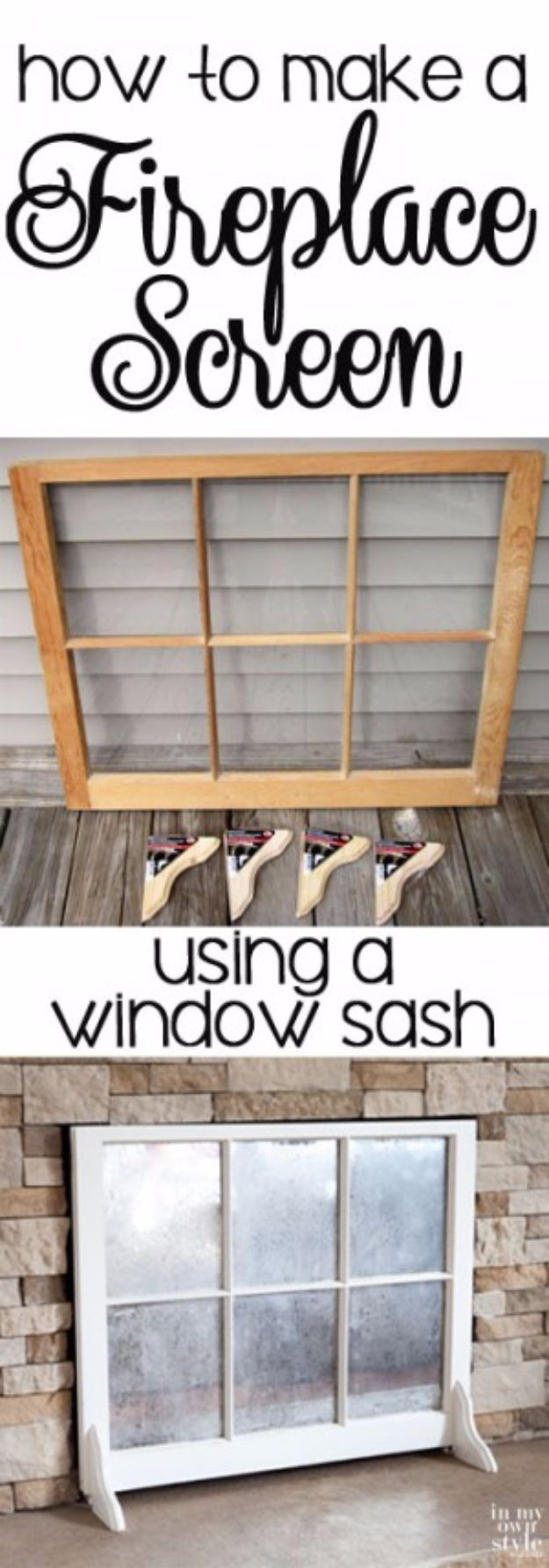 DIY Ideas With Old Windows - Fireplace Screen Using Old Window - Rustic Farmhouse Decor Tutorials and Projects Made With An Old Window - Easy Vintage Shelving, Coffee Table, Towel Hook, Wall Art, Picture Frames and Home Decor for Kitchen, Living Room and Bathroom - Creative Country Crafts, Seating, Furniture, Patio Decor and Rustic Wall Art and Accessories to Make and Sell http://diyjoy.com/diy-projects-old-windows