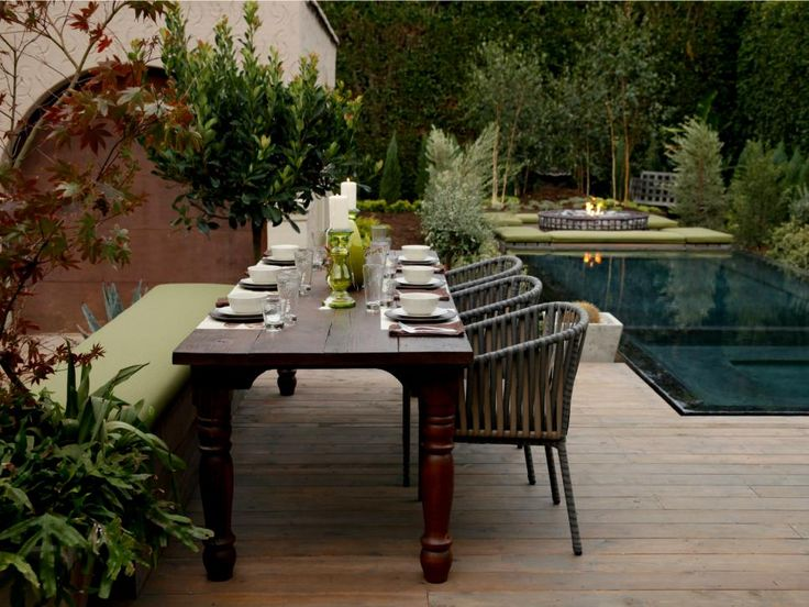 Small Garden Landscape Design Wooden Deck Dining Table. See More.  DIYNetwork. Beautiful Backyard