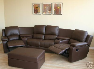 HOME THEATER SEATING LEATHER RECLINER MOVIE CHAIR BROWN SECTIONAL LOVE SEAT