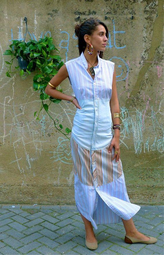 Upcycled Maxi Long Striped Shirt Dress Pale Blue Denim & beige/blue stripe shirts    This smart and sassy Maxi shirt dress I made using three Mens