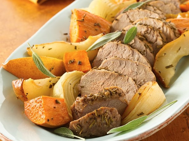 Roasted Pork Tenderloins with Sweet Potatoes and Pears | Recipe