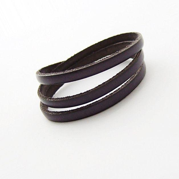 Simple leather three , potrójna skórzana grafitowa - NaLeMi-jewellery - Bransoletki i opaski na rękę