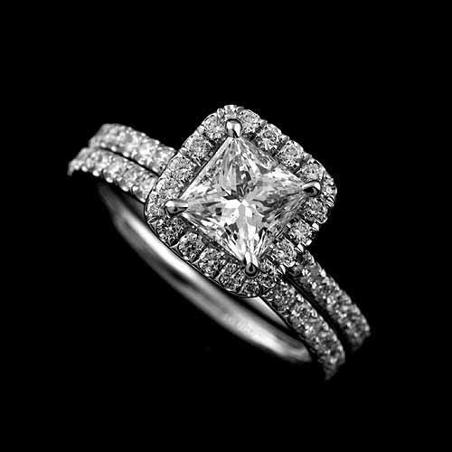 Diamond Halo Engagement Ring Princess Cut Setting And Matching Band Set
