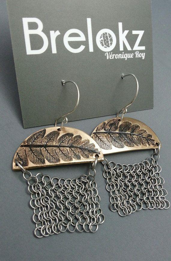 Boucles d'oreilles bronze - Feuilles de fougères