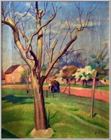 Mario Tozzi 1921: L'Albero di Lignorelles Olio su Tela cm.50x38 - Collezione Privata - Archivio numero 2372.