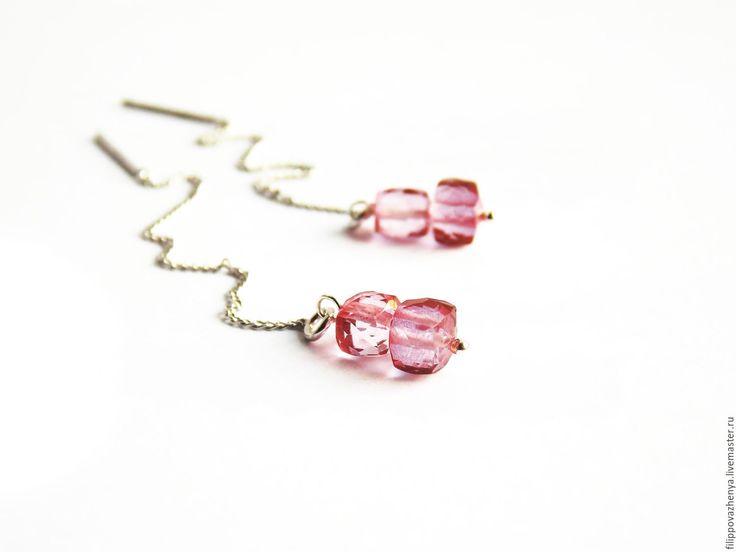 Купить Серебряные серьги протяжки с розовыми топазами - розовый, розовый топаз, серьги с розовым топазом
