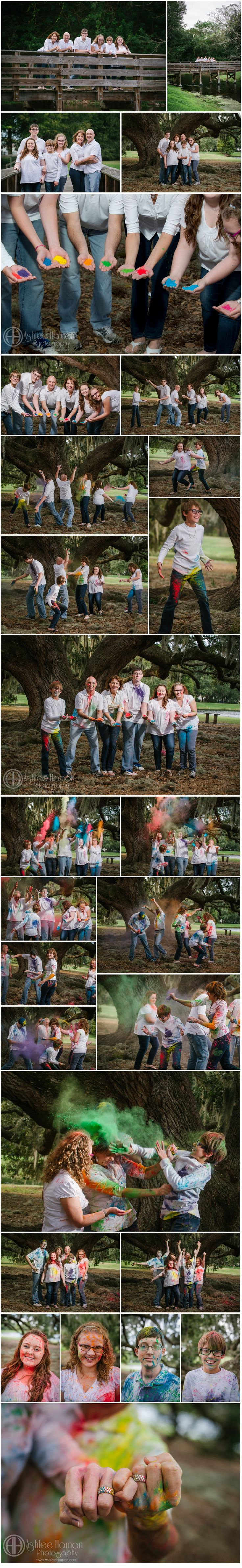 Chalk Powder Fight Family Portraits
