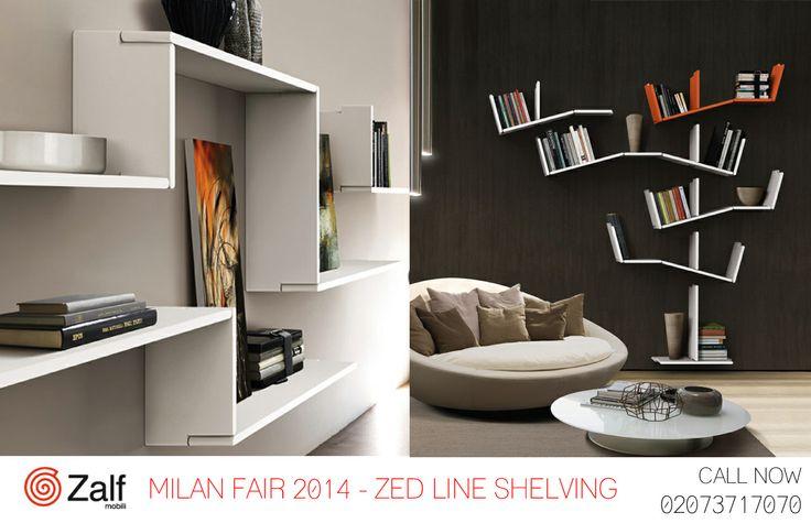 Milan Fair 2014 Zalf Zed Line Shelving . Create your own storage in eco lacquer shelving #Zalf #ItalianFurniture #InteriorDesign #LivingSpace #Milan2014 #MilanDesignWeek # MilanFair