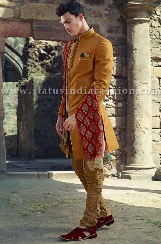 Mens wear, groom wedding dress, groom sherwani, designer indo western, bright color indowestern, indian wedding wear, royal wedding indowestern www.statusindiafashion.com