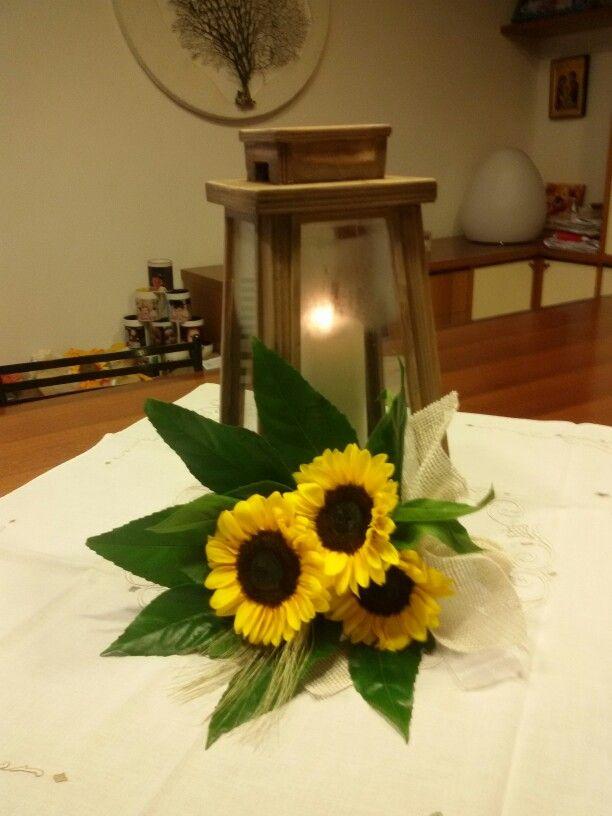 Centrotavola sunflower wedding lantern