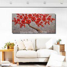 El yapımı Kırmızı Çiçekler Yağlıboya Tuval Ev Dekor Ücretsiz Gönderi Üzerinde Salon Resmi Için Duvar Sanat Modern Boyama Manzara(China (Mainland))