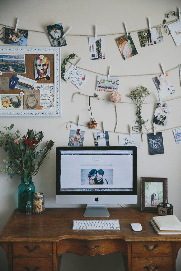 5 Décor Ideas Under $5 by Megan Elliott // nelliemag.com  Photo Display (shown at the top) Twine: $1 Clothespins: $1 Photo printing: ~$.10/photo (Walgreens, CVS, Walmart, etc.)  This cute photo display idea is a great way to bring some personality to a room. Simply tape the twine to the wall in any design you choose (two parallel lines, one long line, the possibilities are endless!) and hang photos with the clothespins.
