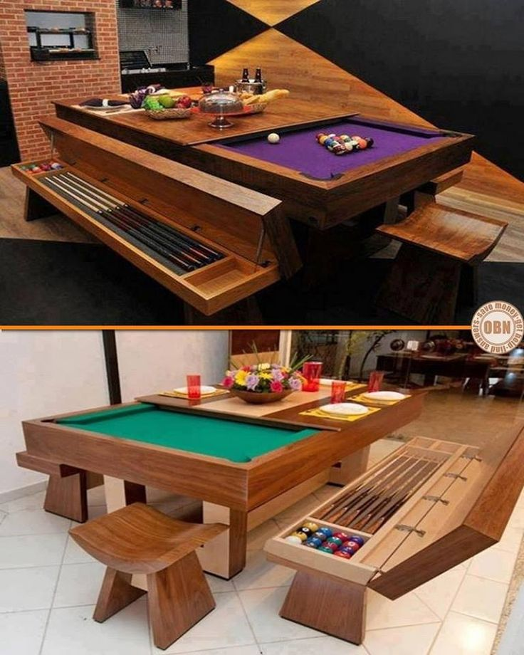 Many people wish they owned a pool table, but just don't have the space. This is a great example of how a bit of creativity allows you to have the best of both worlds - a great dining table, and a pool table for when the meal is over. For more inspiration                                                                                                                                                     More