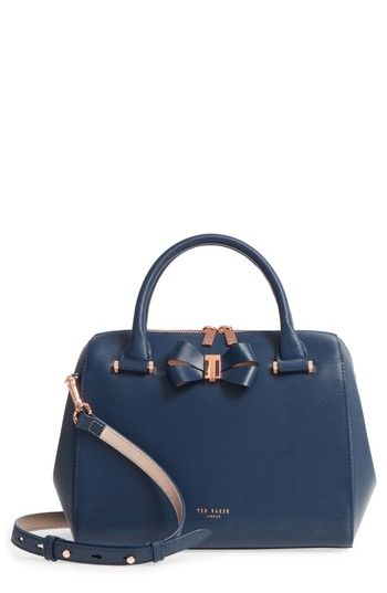 TED BAKER SMALL BOWSIIA LEATHER BOWLER BAG - BLUE. #tedbaker #bags #shoulder bags #hand bags #leather #satchel #