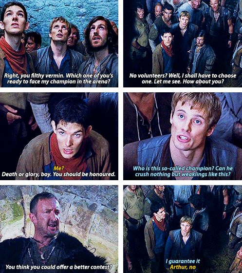 Arthur protecting Merlin. You know, I was trying to justify in my head why Merlin's never given an armor (no sword coz Arthur thinks he's stab himself), and I was thinking maybe it's because Arthur thinks he'll always be there to protect Merlin anyway. <3