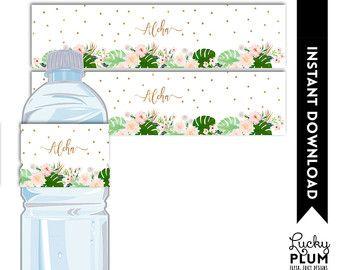 Tropical Water Bottle Label / Luau Water Bottle Label / Tropical Napkin Ring / Flower Water Bottle Label / Pink Green Water Bottle TP01