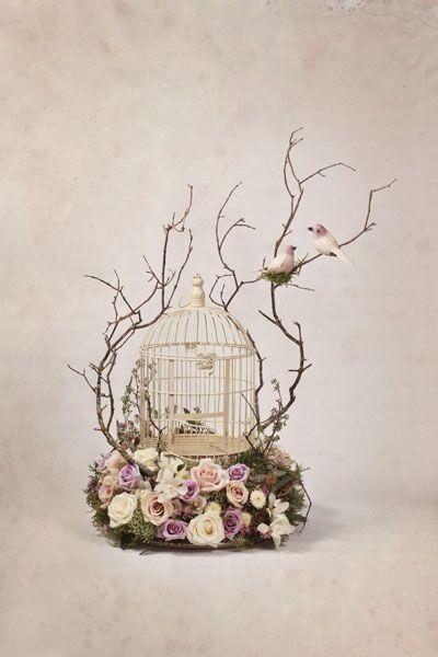 Jaula flor pájaro