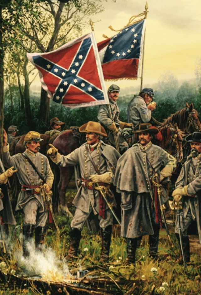 Confederate Generals at camp. Approach to Shiloh, April 5,1862. Beauregard, Johnston, Breckenridge, & Hardee. Where's Bragg?