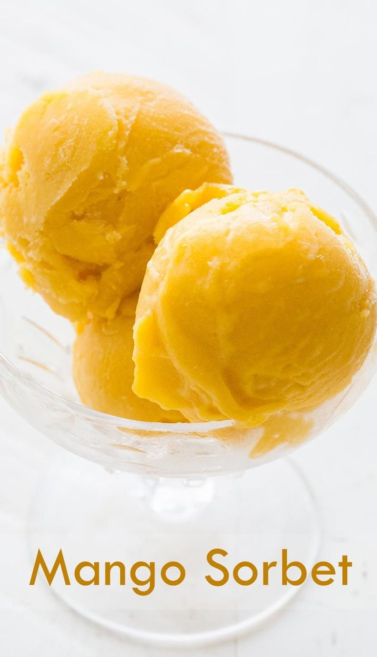 Naturally creamy mango sorbet, with fresh mangos, lime juice, simple syrup. So easy to make! On SimplyRecipes.com