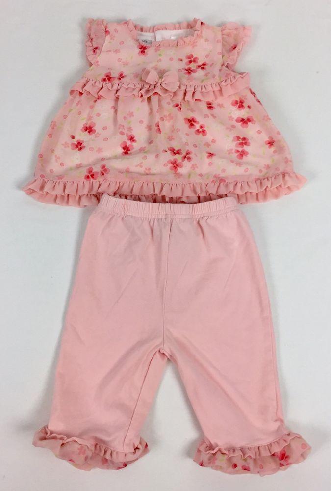 Koala Baby 3-6 Month Girl Shirt Pants Set Floral Pink Outfit Ruffles Bow #KoalaBaby