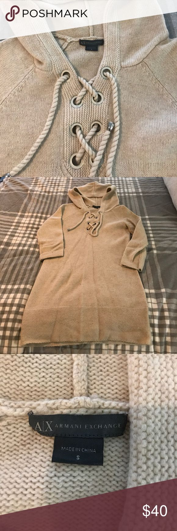 Armani Exchange hooded sweater dress S EUC An adorable Armani Exchange hooded sweater dress S EUC.  Looks great with leggings and boots for the fall and winter.  100% wool makes it super warm too! A/X Armani Exchange Sweaters
