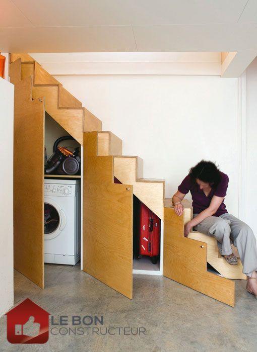 55 best Aménagement escalier images on Pinterest Stairs, Kitchen - porte de placard sous escalier
