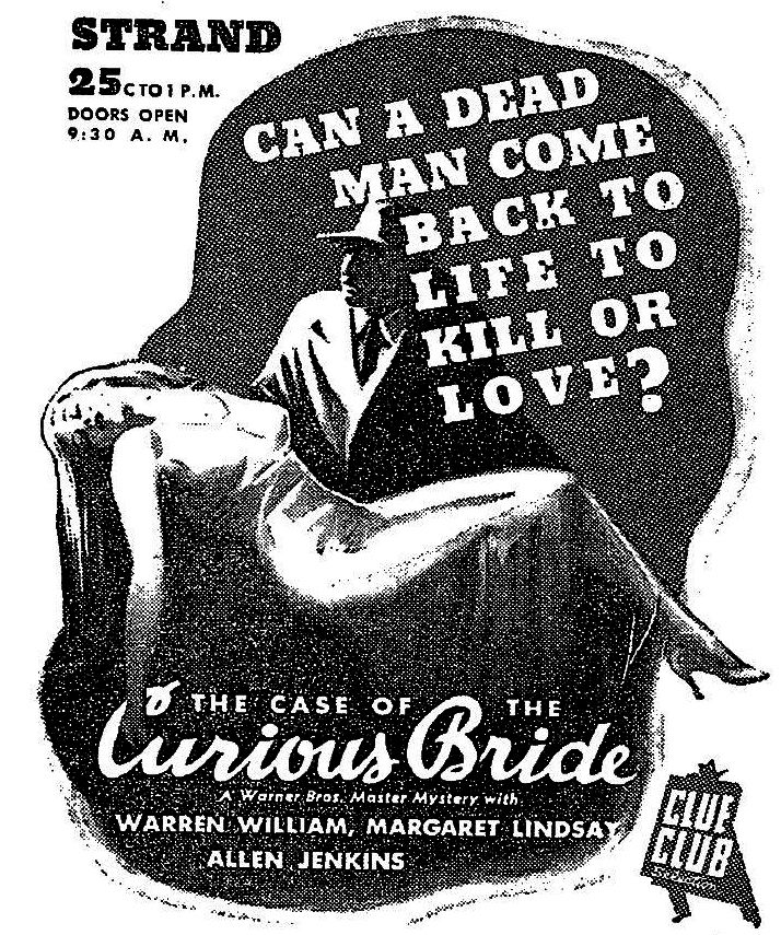Warren William in The Case of the Curious Bride (1935). New York Times, April 4, 1935.
