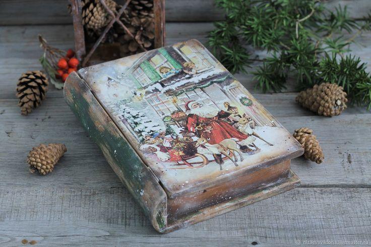 """Купить """"Рождественские подарки"""" деревянная шкатулка из ольхи (не фанера) - Новый Год, винтаж, олени"""