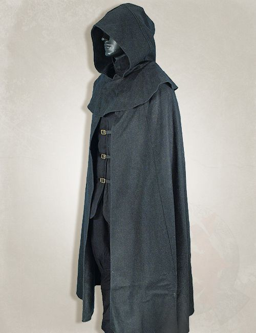 larp clothing, medieval clothing, larp black medieval cloak. Item can be found at http://www.larpcanada.com