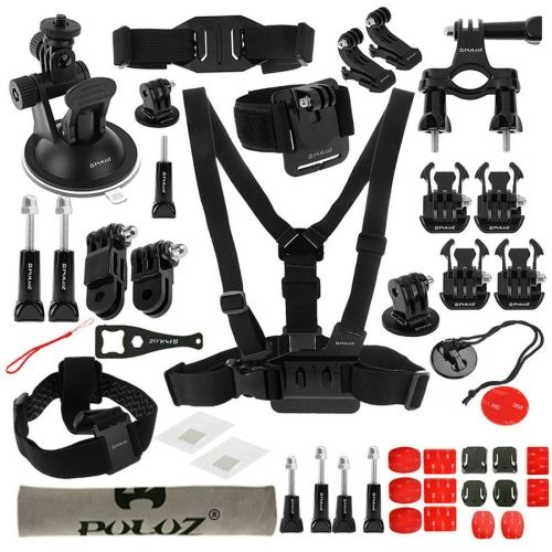 [USD12.76] [EUR11.41] [GBP9.22] PULUZ 45 in 1 Accessories Ultimate Combo Kit (Chest Strap + Suction Cup Mount + 3-Way Pivot Arms + J-Hook Buckle + Wrist Strap + Helmet Strap + Surface Mounts + Tripod Adapter + Storage Bag + Handlebar Mount + Wrench) for GoPro HERO4 Session /4 /3+ /3 /2 /1