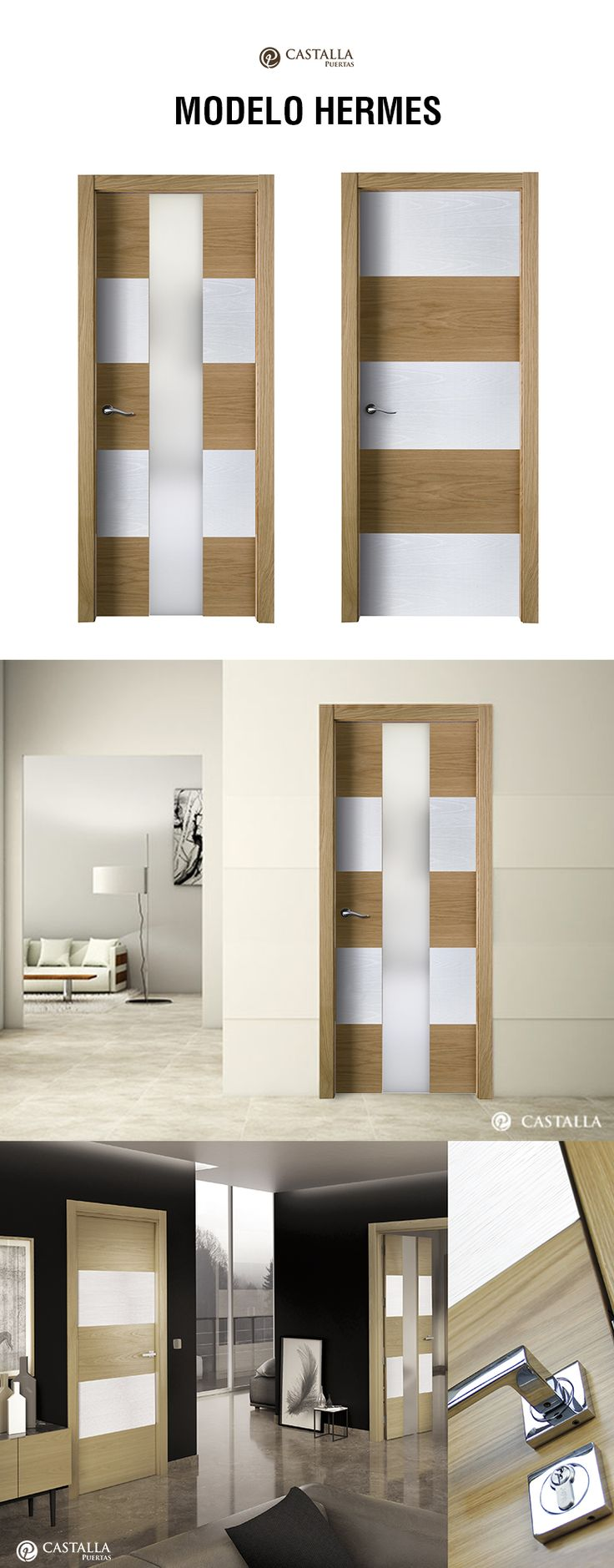 Puerta de interior con cristal Modelo HERMES. Puertas Castalla  Glass interior door model HERMES. Castalla Doors