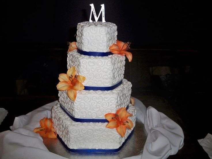 orange and blue weddings | navy blue and bright orange — Other / Mixed Shaped Wedding Cakes