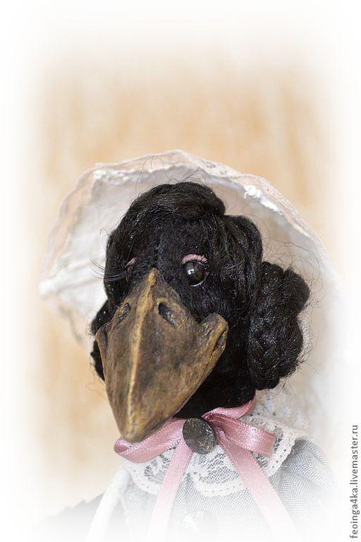 Купить Долгожданная...(для Наталии) - чёрно-белый, птица, ворона, зонтик, на заказ, вискоза 100%