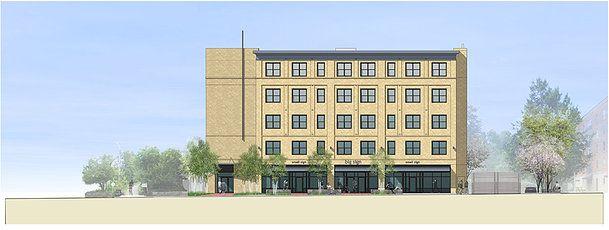 MCLA, New England, Massachusetts, Landscape Architecture, Design, Landscape, Institutional, Pleasant Street Housing, Section, Elevation, Residential, Retail