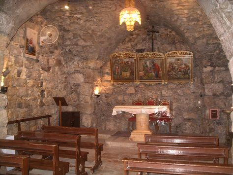 """Inside the alleged house of St. Ananias in Damascus, Syria. In Paul's speech in Acts 22, he describes Ananias as """"a devout man according to the law, having a good report of all the Jews"""" that dwelt in Damascus (Acts 22:12) During his conversion experience, Jesus had told Paul aka Saul to go into the city & wait. Jesus later spoke to Ananias in a vision, and told him to go to the """"street which is called Straight"""", and ask """"in the house of Judas for one called Saul, of Tarsus"""". (Acts 9:11)"""