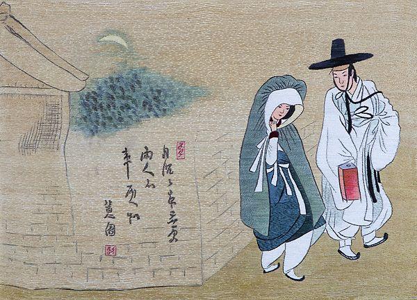 월하정인도 - 신윤복  그림에 적혀있는 한시는 '달은 기울어 밤 깊은 삼경인데 두 사람의 마음은 두 사람이 안다.'는 뜻입니다.