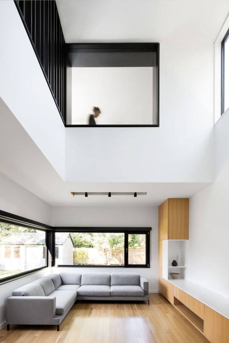 Architecture, Appealing Interior Home Remodel Ideas Of Connaught With Concrete Material Floor Featuring Living Room Sofa Glass Window Sorage Ceiling Lamp Second Storey White Scheme And Black Floor: House Remodeling for Exterior and Interior Design in Modernity