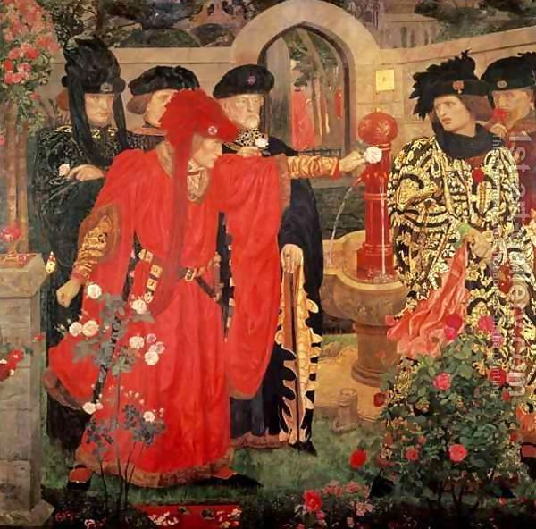 This painting by Henry Arthur Payne from 1908 depicts William Shakespeare's version of the splitting of noble families in 15th-century England into the factions of York and Lancaster before the Wars of the Roses. Richard Plantagenet, 3rd Duke of York and his followers choose the white rose, while the Duke of Somerset and his companion take the red. http://simon-rose.com/books/the-sorcerers-letterbox/historical-background/