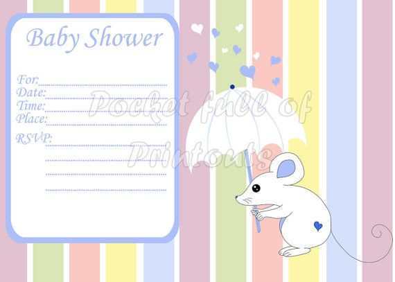 Printable Baby Shower Invitation with blue by PocketFulOfPrintouts