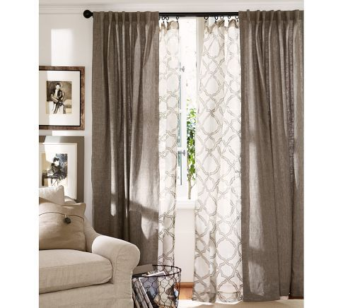 Living room window treatment inspiration.  Kendra Trellis Sheer Drape | Pottery Barn