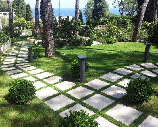 trittsteine gartenweg-gestalten geometrisches-design vorgarten, Gartenarbeit ideen