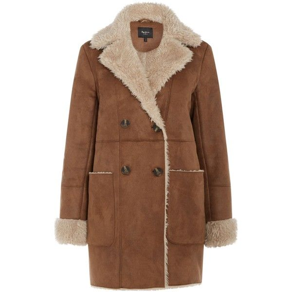 Pepe Jeans Pepe Jeans Winter Coat (209,795 KRW) ❤ liked on Polyvore featuring outerwear, coats, sale women coats & jackets, single-breasted trench coats, water proof coat, fur-lined coats, brown coat and fur lining coat