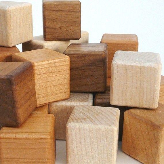 Wooden Blocks wooden toy baby blocks organic by littlesaplingtoys, $15.00