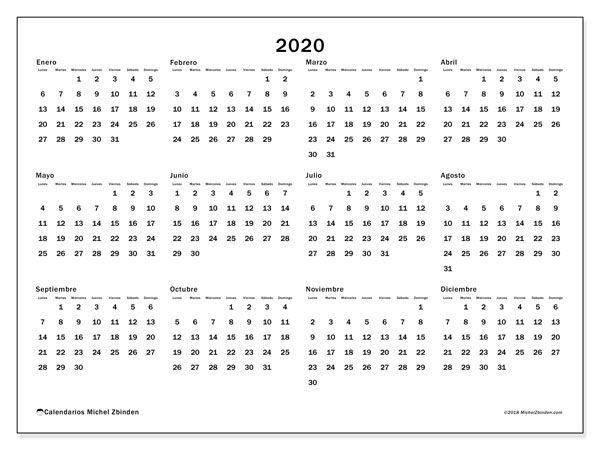 Calendario 2020 Da Scaricare.Calendario 2020 32ld Agenda Calendario Stampabile