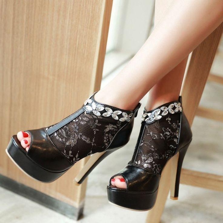 Shoespie Rhinestone Mesh Peep-Toe Platform Heels