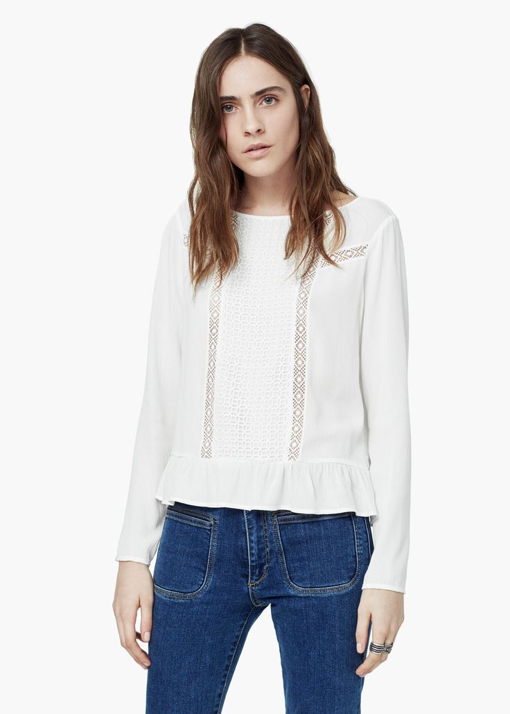 Blusa bordada -  Mujer | MANGO
