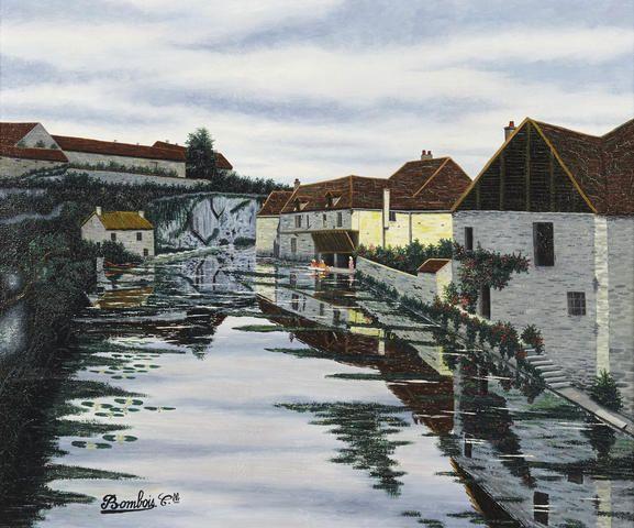 Camille Bombois (French, 1883-1970) Aux bords de la riviere 18 x 21 1/2in.